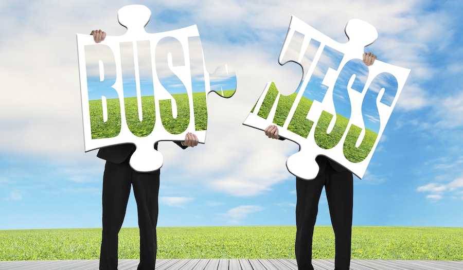 Assembling two puzzles for green business nature background