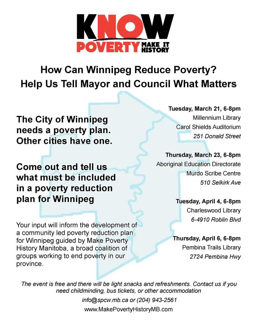 Public Consultation How Can Winnipeg Reduce Poverty