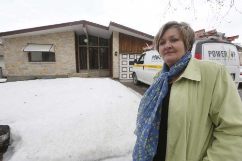 JOHN WOODS / WINNIPEG FREE PRESS Councillor Janice Lukes is photographed outside 669 Pasadena Avenue Monday, March 27, 2017. There was a fire at the house early this morning. The house is being used as a rooming house for foreign students.