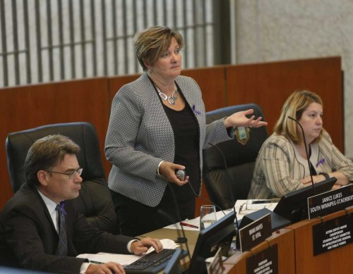 WAYNE GLOWACKI / WINNIPEG FREE PRESS  Winnipeg Councillor Janice Lukes debates the Manitoba Hydro land deal at City Hall Wednesday afternoon. Aldo Santin story    June 15  2016
