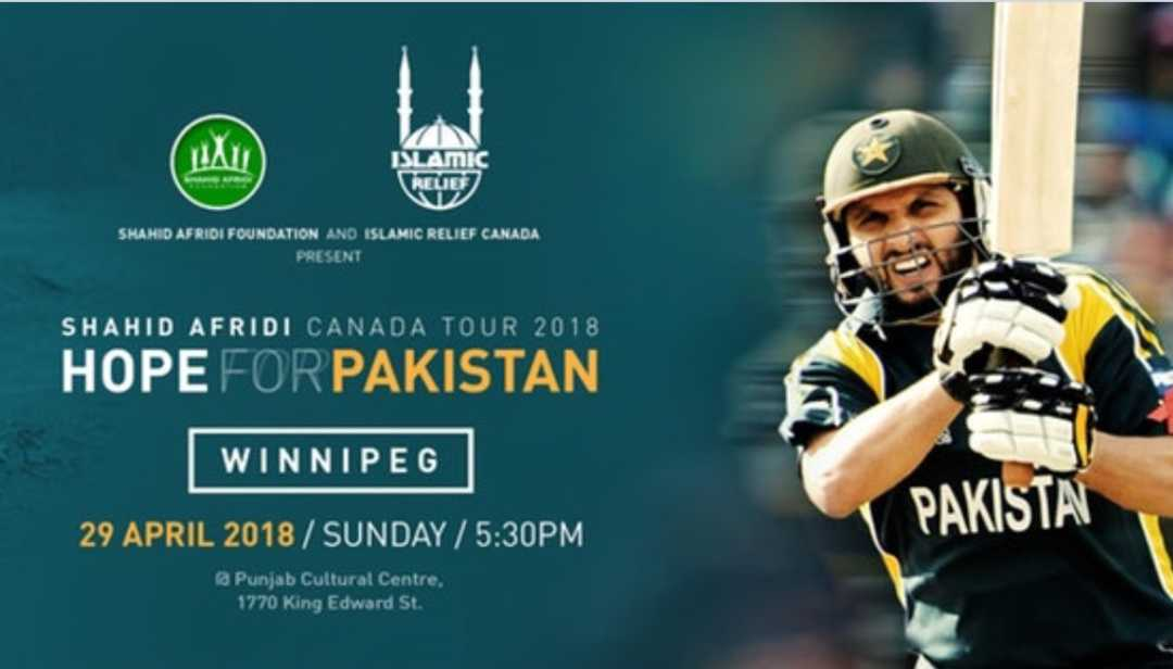 Shahid Afridi in Winnipeg: Hope for Pakistan