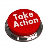 "A red button with the words ""Take action"" on it"