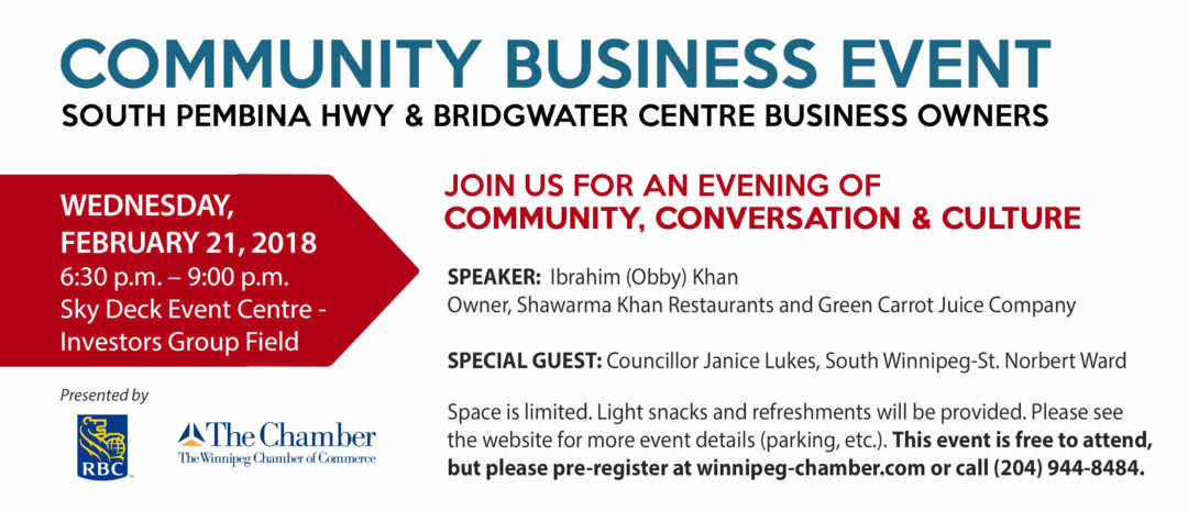 Business Owners – South Winnipeg is Booming! Join us for an Evening of Community, Conversation & Culture!