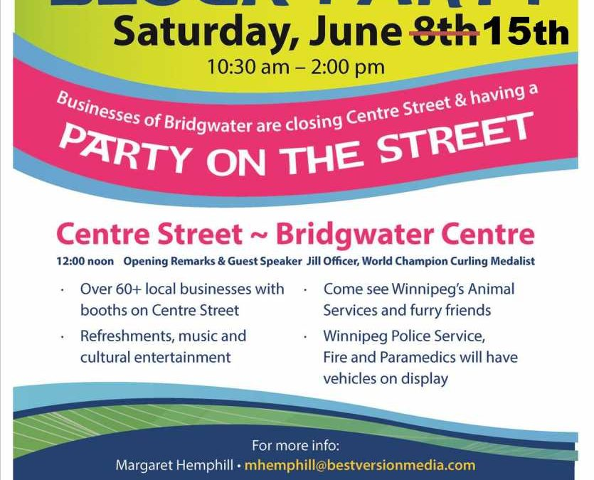 POSTPONED To June 15th – Businesses Of Bridgwater Block Party