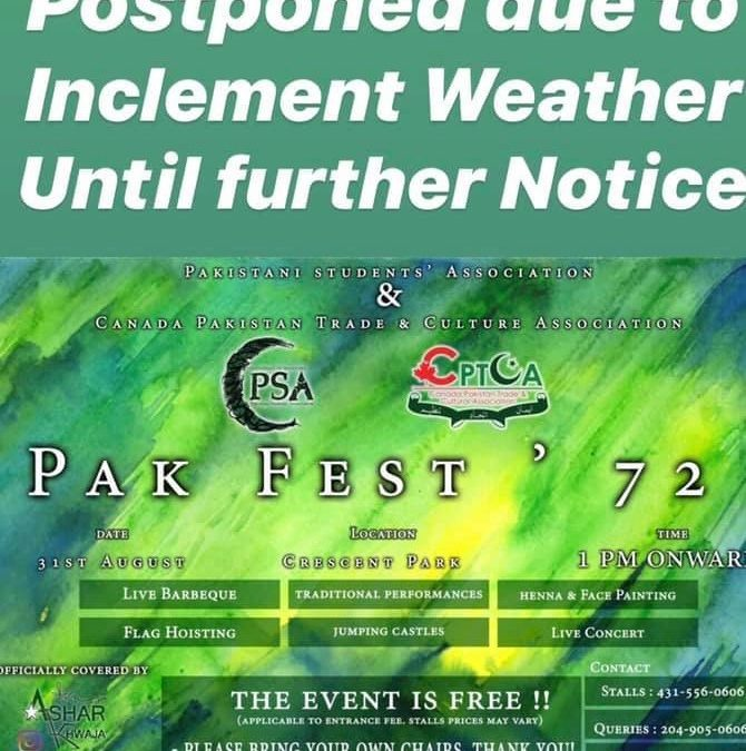 POSTPONED – Pakistan Independence Day Celebrations