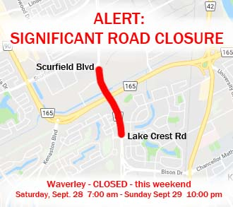 ALERT: Significant Road Closure on Waverley – This Weekend (Sept 28-29)