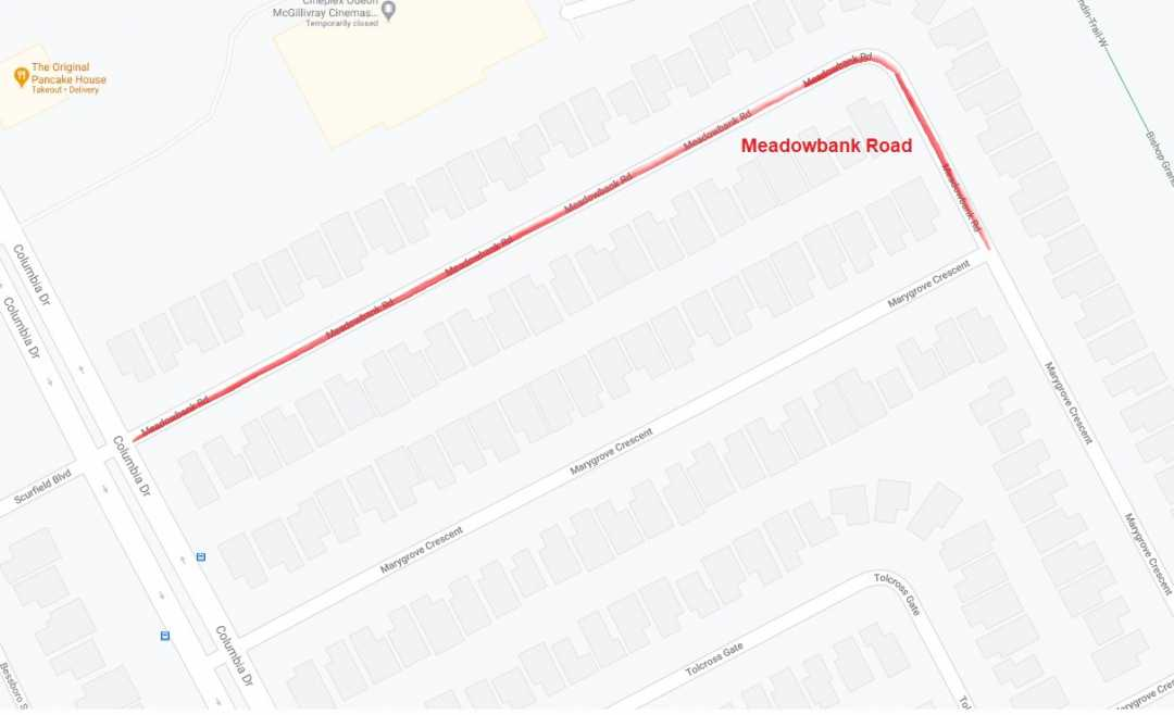 Construction Notice – Meadowbank Rd – Marygrove Cr to Columbia Dr
