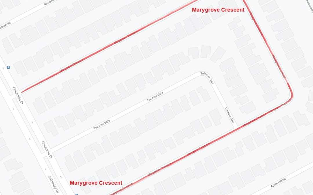 Construction Notice – Marygrove Cr – Columbia Dr to Columbia Dr